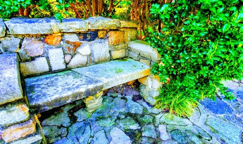 Stone bench at Memorial Gardens Concord NC