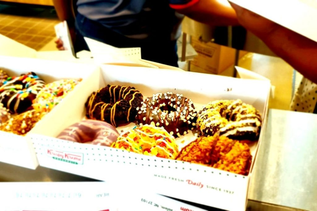 box of Krispy Kreme doughnuts