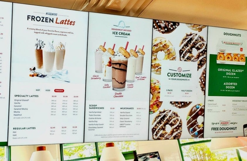 New Krispy Kreme Menu in Concord NC store