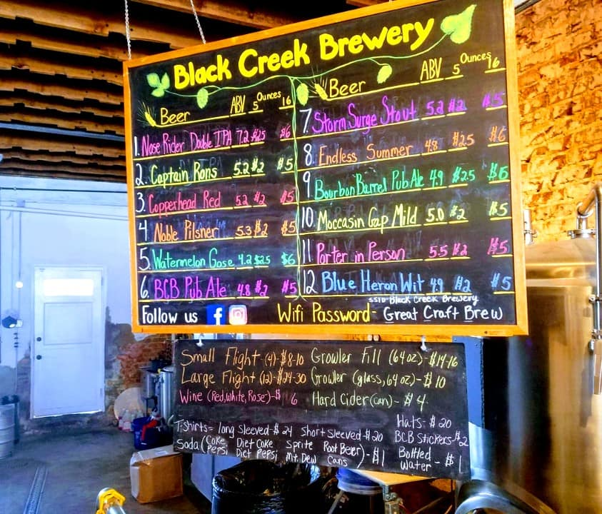 Beer variety's at Black Creek Brewery