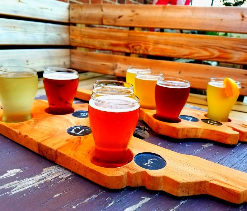 Flights of beer from Black Creek Brewery, Roxboro, NC