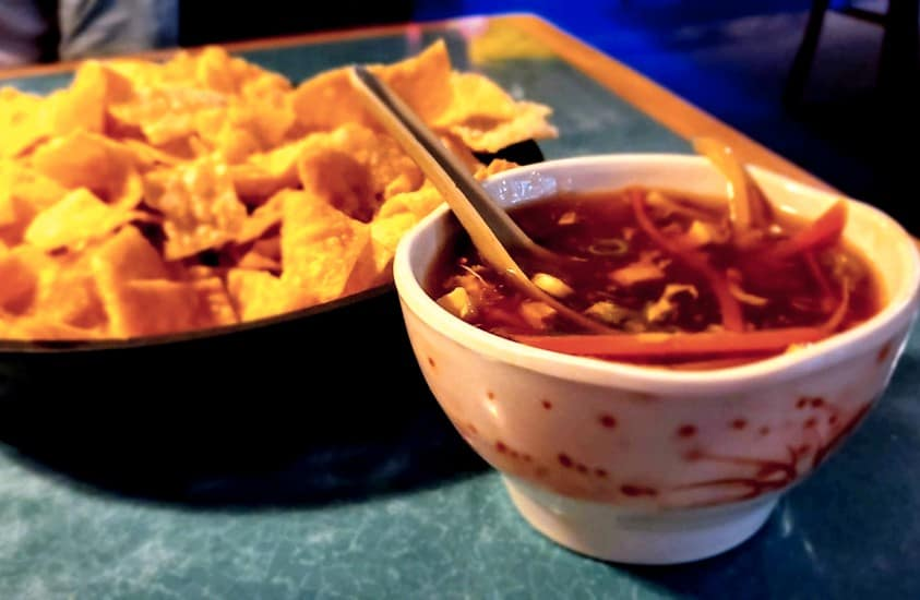 Hot & Sour Soup with fried wontons