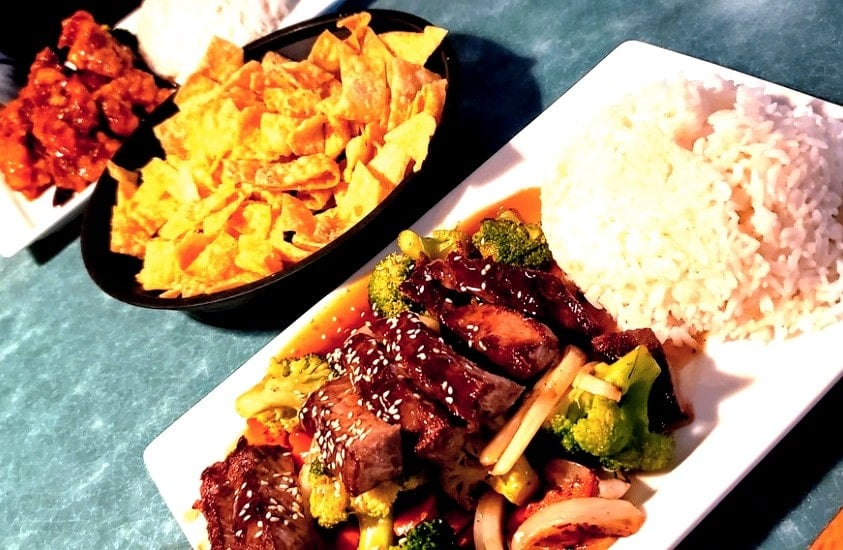 Steak Teriyaki and General Tso' Chicken and rice