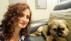 Picture of Kristen Allred and her dog, Cookie