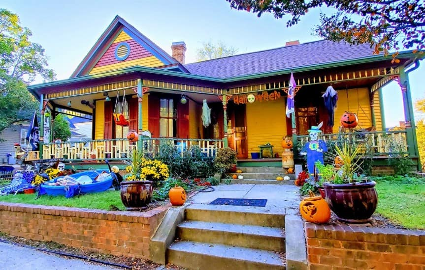 Historic Oakwood In Raleigh, NC at Halloween decorated house