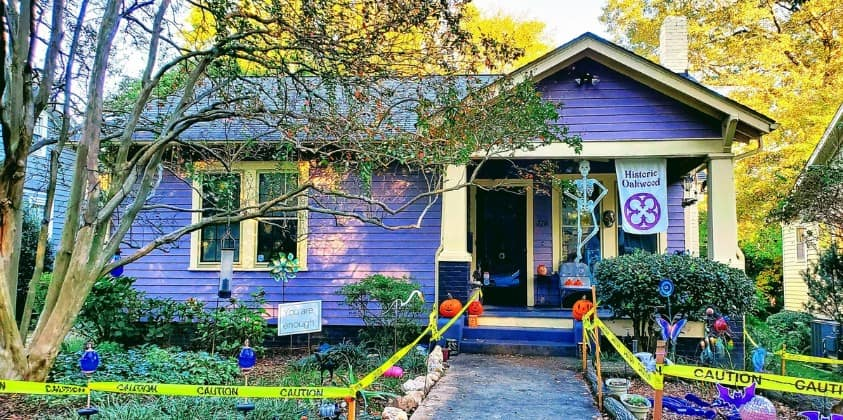 Purple House with Halloween Decor