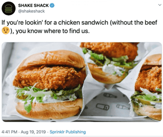 Shake Shack Chicken Sandwich Tweet