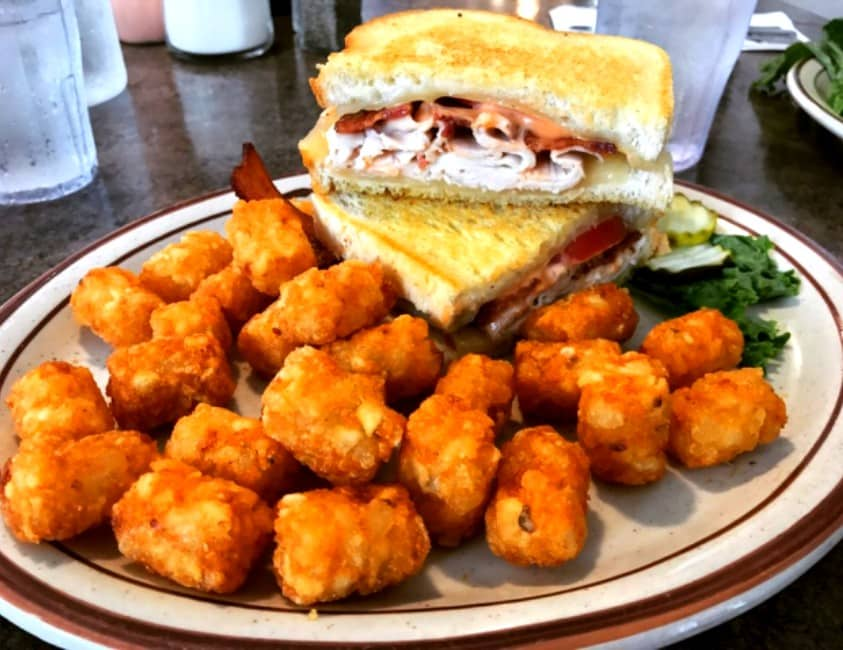 Sandwich and Tator Tots at Angie's Restaurant in Logan, Utah a local favorite