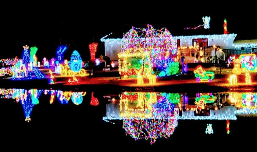 Christmas Lights Reflecting in Pond