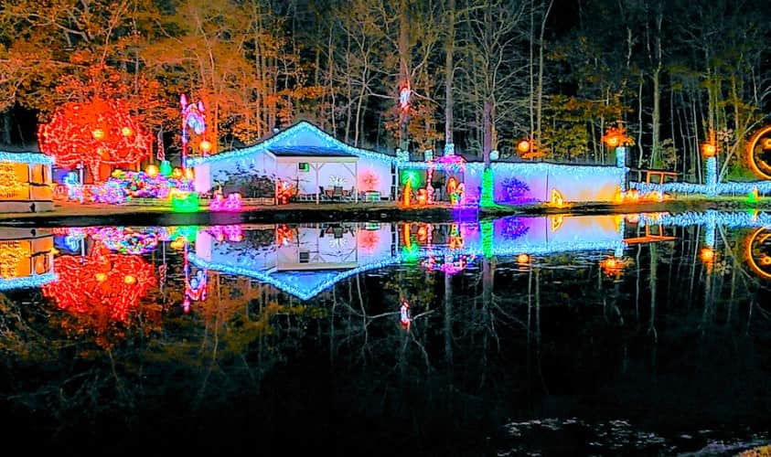 Christmas Lights over Pond