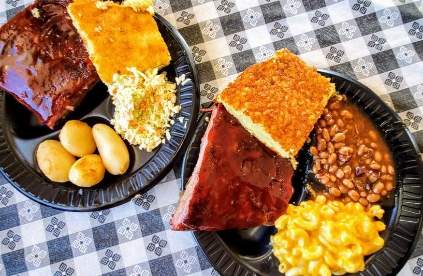 Cornbread, BBQ Beans and Ribs Smokey Dave's BBQ Roxboro, NC