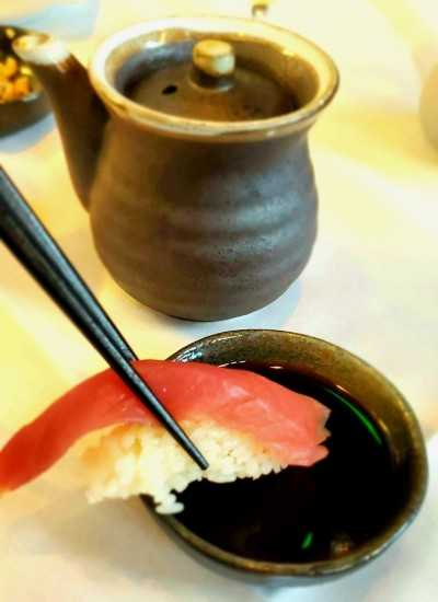 Tuna Nigiri and Soy Sauce from Koan Asian Cuisine in Cary, NC
