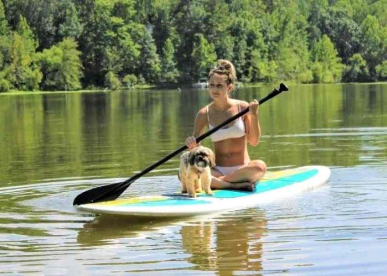 Girl and Dog Paddle Boarding on Neuse River Clayton NC