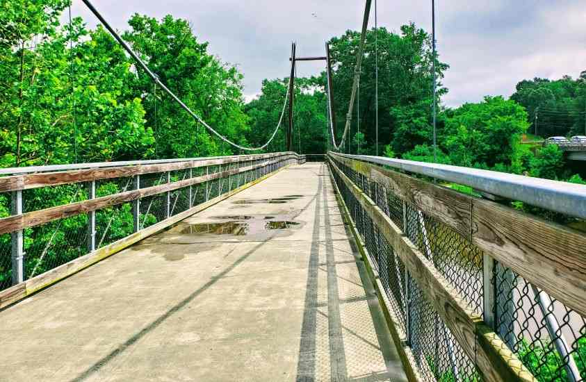 Suspension Bridge on Neuse River Greenway Trail