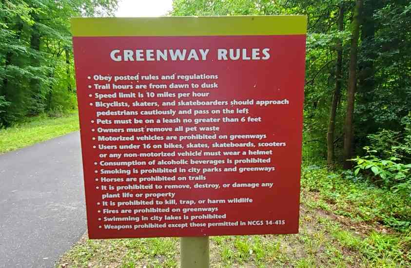 Rules of the Neuse River Greenway Trail Wake County NC
